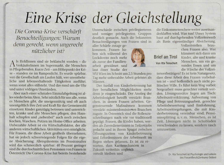 """Zeitungsausschnitt mit Itta Tenscherts """"Brief an Tirol"""" zu den Auswirkungen der Corona-Krise auf die Situation der Frauen"""
