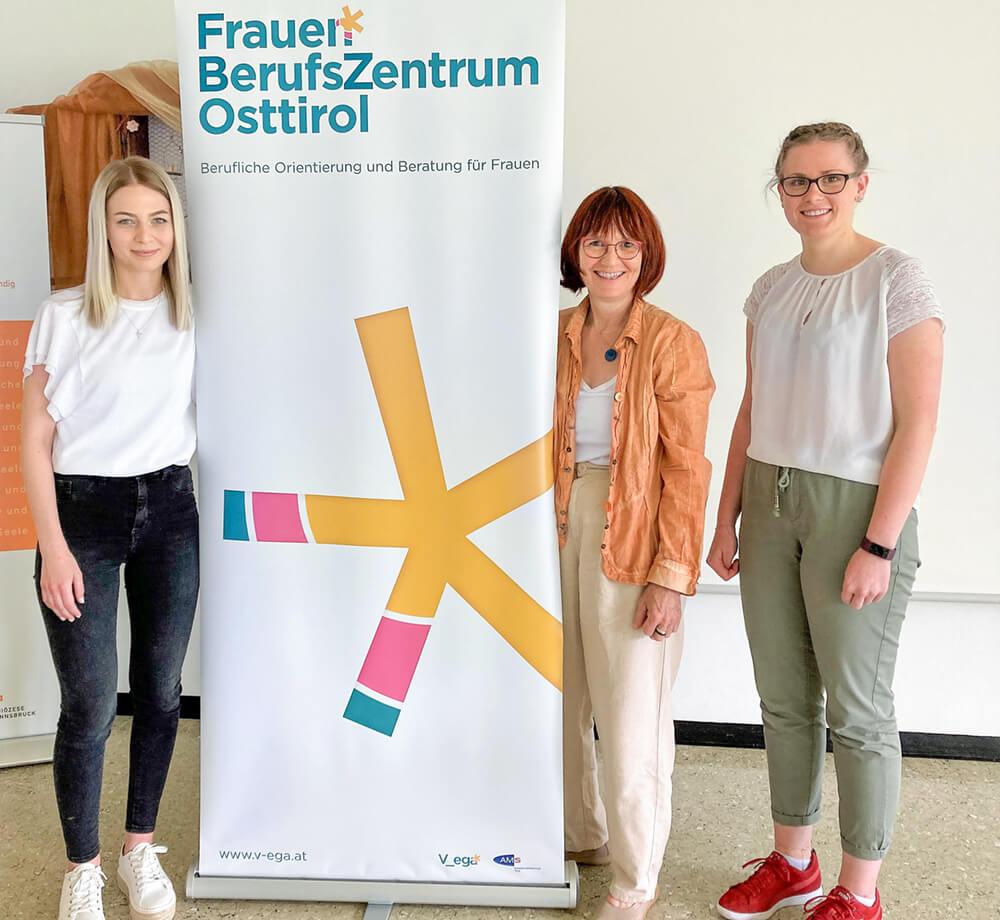 von links: Verena Troger, Beraterin FBZ; Itta Tenschert, Leiterin FBZ; Katharina Schneider, Jugendberaterin AMS Lienz.